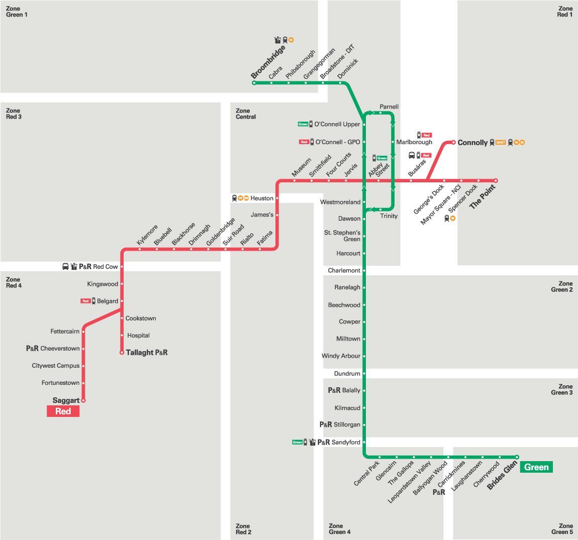 gröna linjen karta Luas grön linje karta   Karta över Luas gröna linjen (Irland) gröna linjen karta